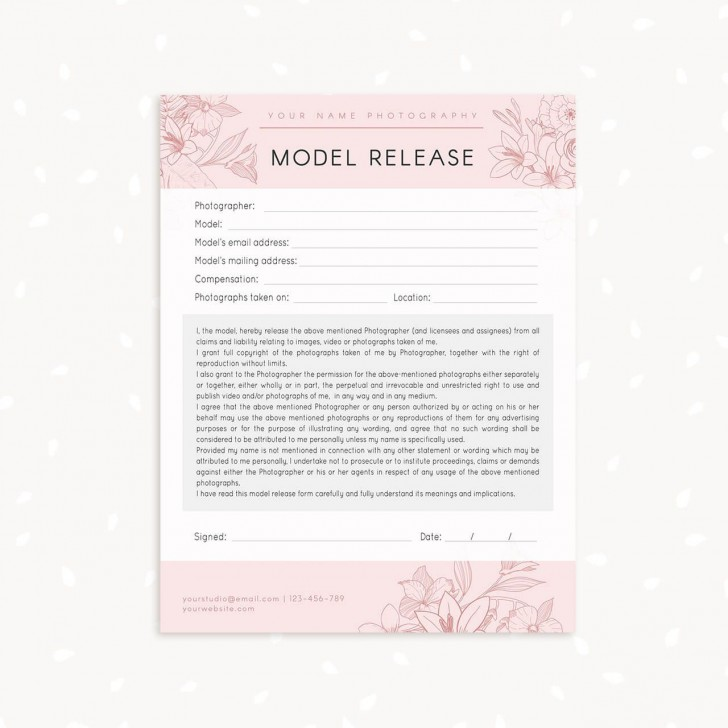 006 Marvelou Model Release Form Template Highest Clarity  Photographer Gdpr Simple728