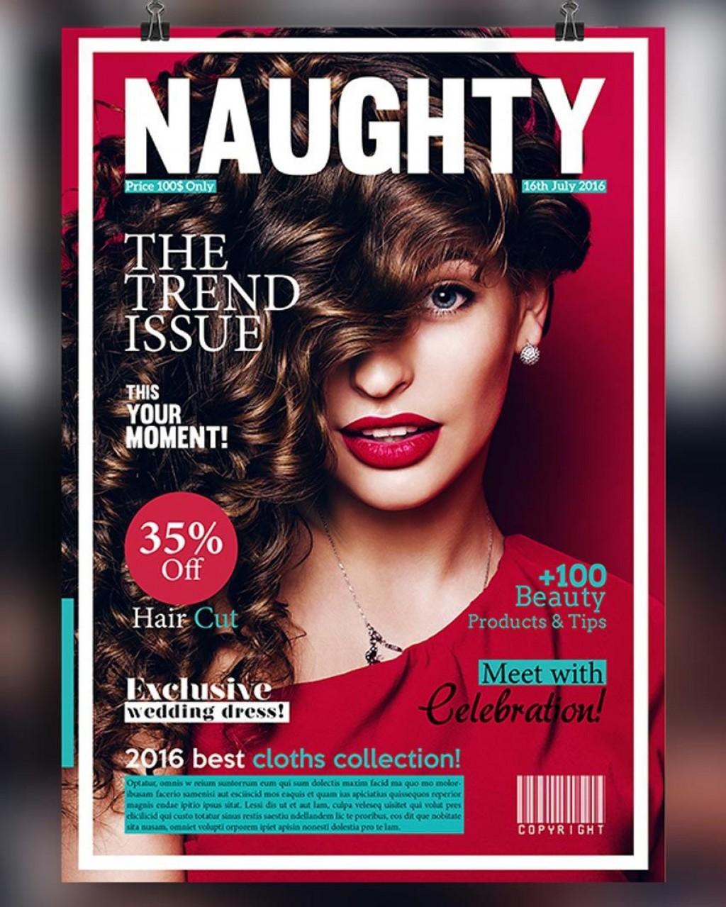 006 Marvelou Photoshop Fashion Magazine Cover Template Free Idea Large