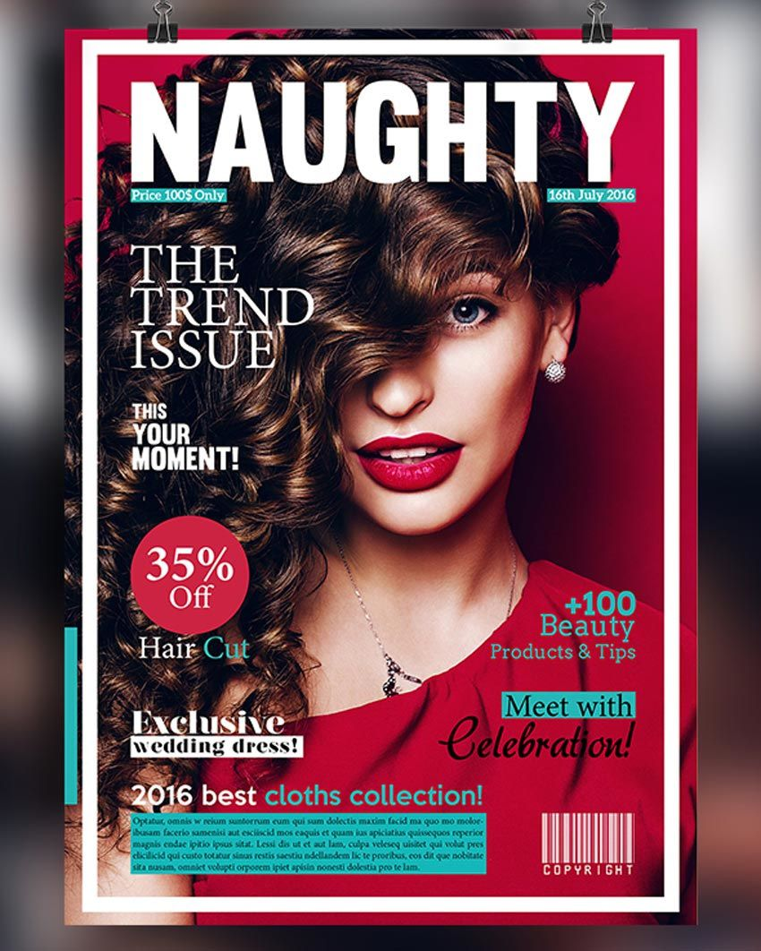 006 Marvelou Photoshop Fashion Magazine Cover Template Free Idea Full