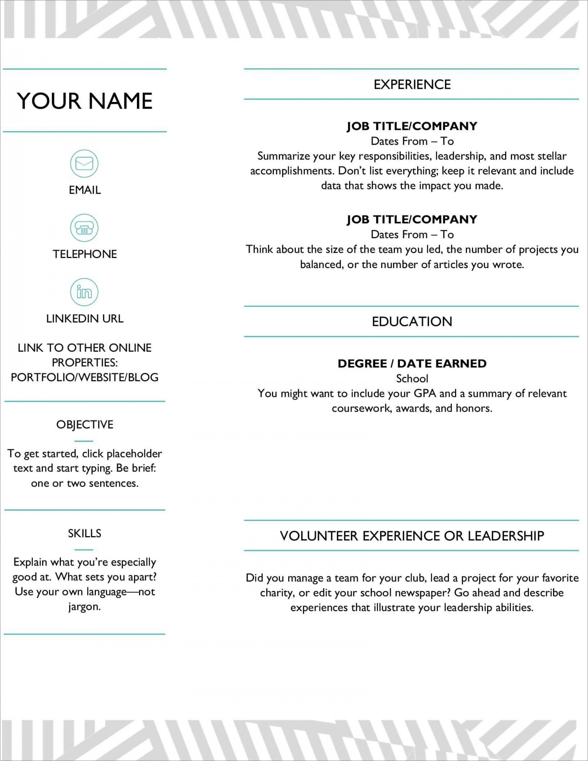 006 Marvelou Resume Microsoft Word Template Highest Clarity  Cv/resume Design Tutorial With Federal Download1920