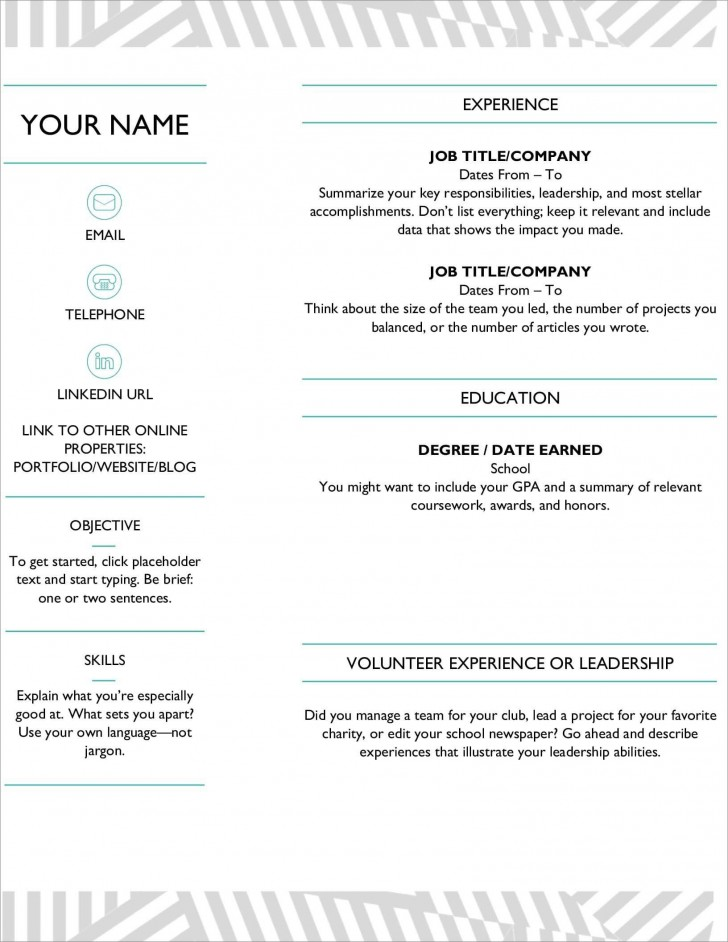 006 Marvelou Resume Microsoft Word Template Highest Clarity  Cv/resume Design Tutorial With Federal Download728