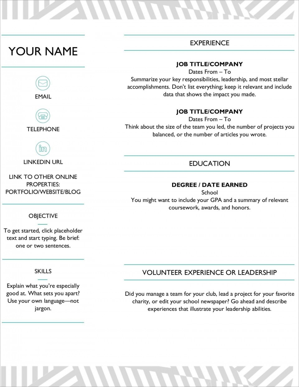 006 Marvelou Resume Microsoft Word Template Highest Clarity  Cv/resume Design Tutorial With Federal Download960