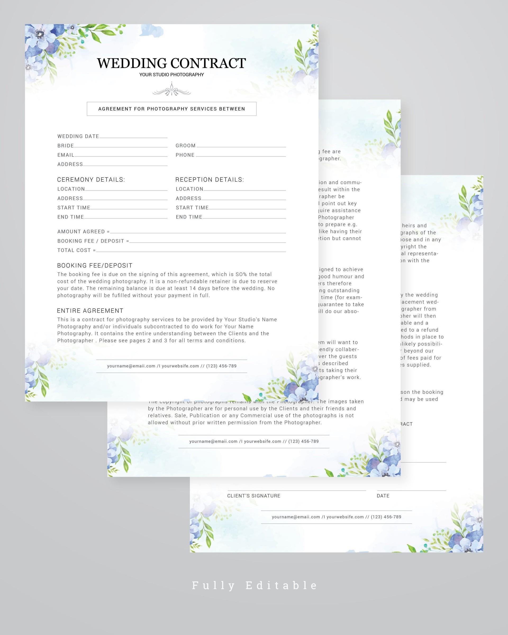 006 Marvelou Wedding Photographer Contract Template Sample  Free Photography Uk1920