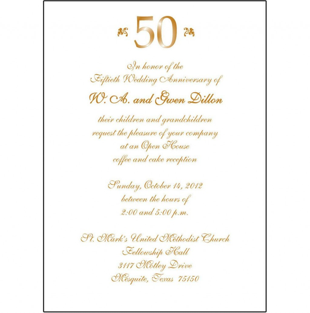 006 Outstanding 50th Wedding Anniversary Invitation Sample  Samples Free Party Template Card IdeaLarge