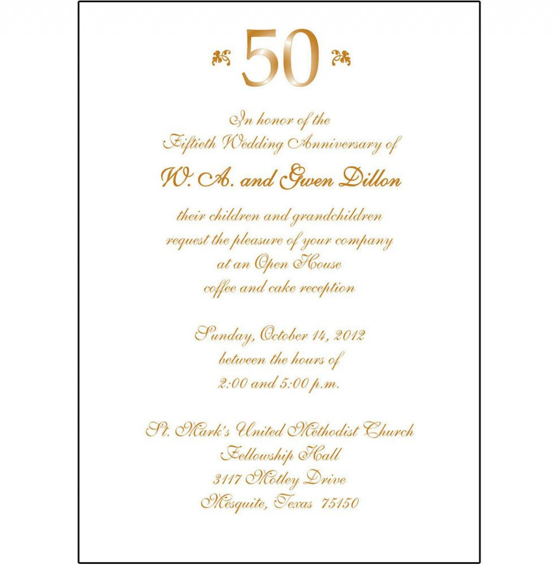 006 Outstanding 50th Wedding Anniversary Invitation Sample  Samples Free Party Template Card Idea1920