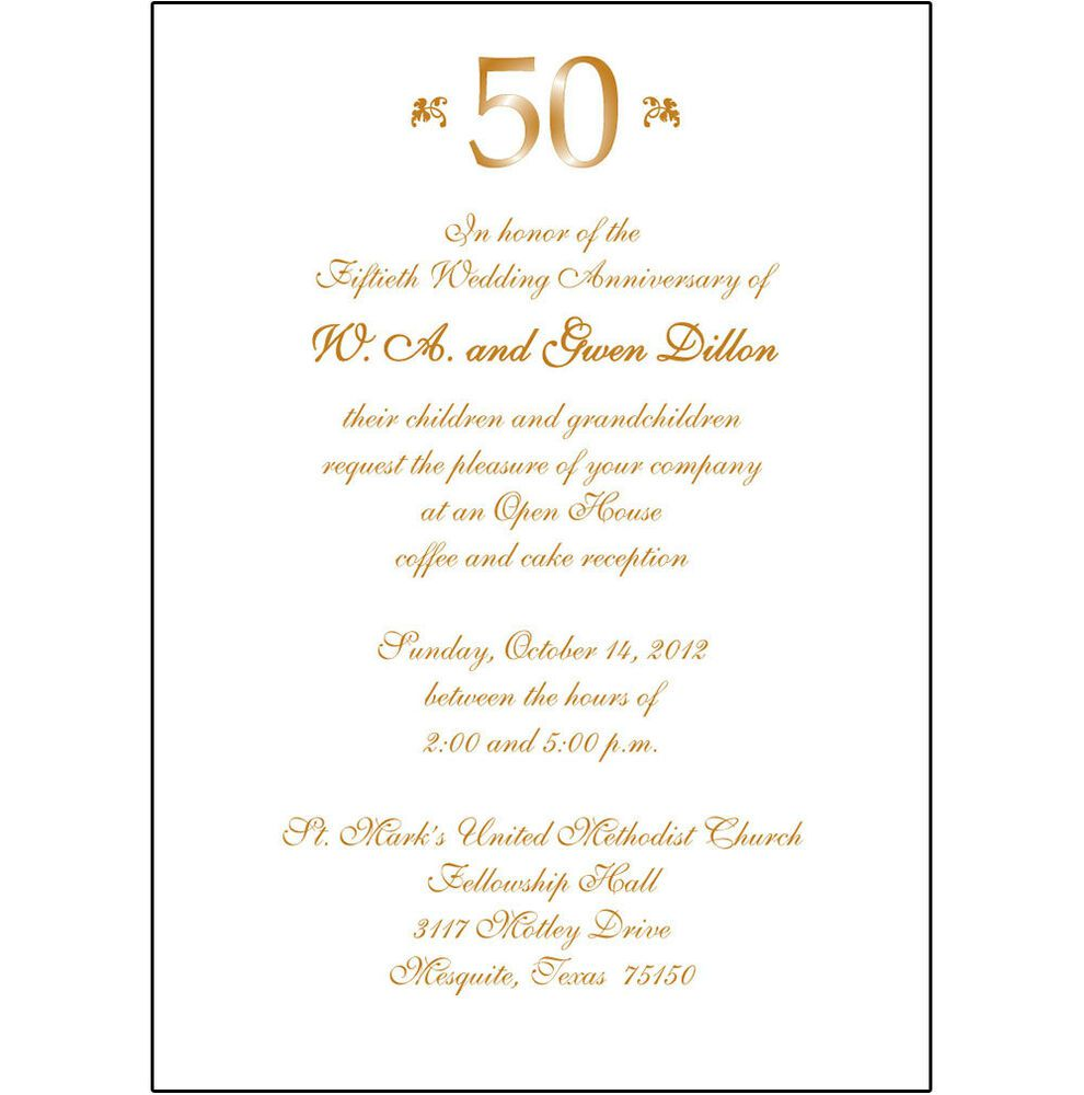 006 Outstanding 50th Wedding Anniversary Invitation Sample  Samples Free Party Template Card IdeaFull