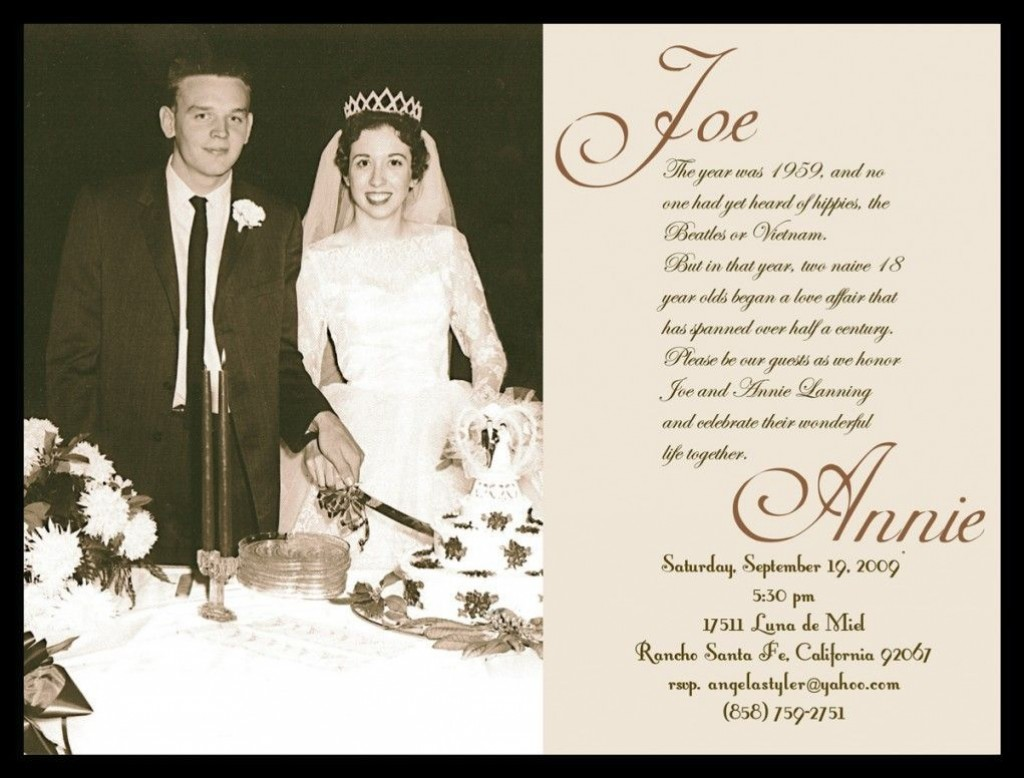 006 Outstanding 50th Wedding Anniversary Party Invitation Template Highest Quality  Templates FreeLarge