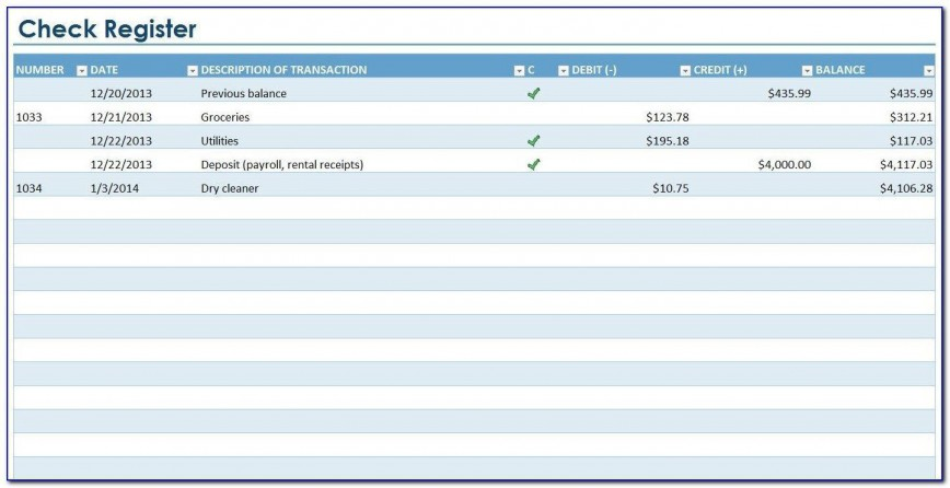 Checkbook Register Template Excel 2013 Addictionary