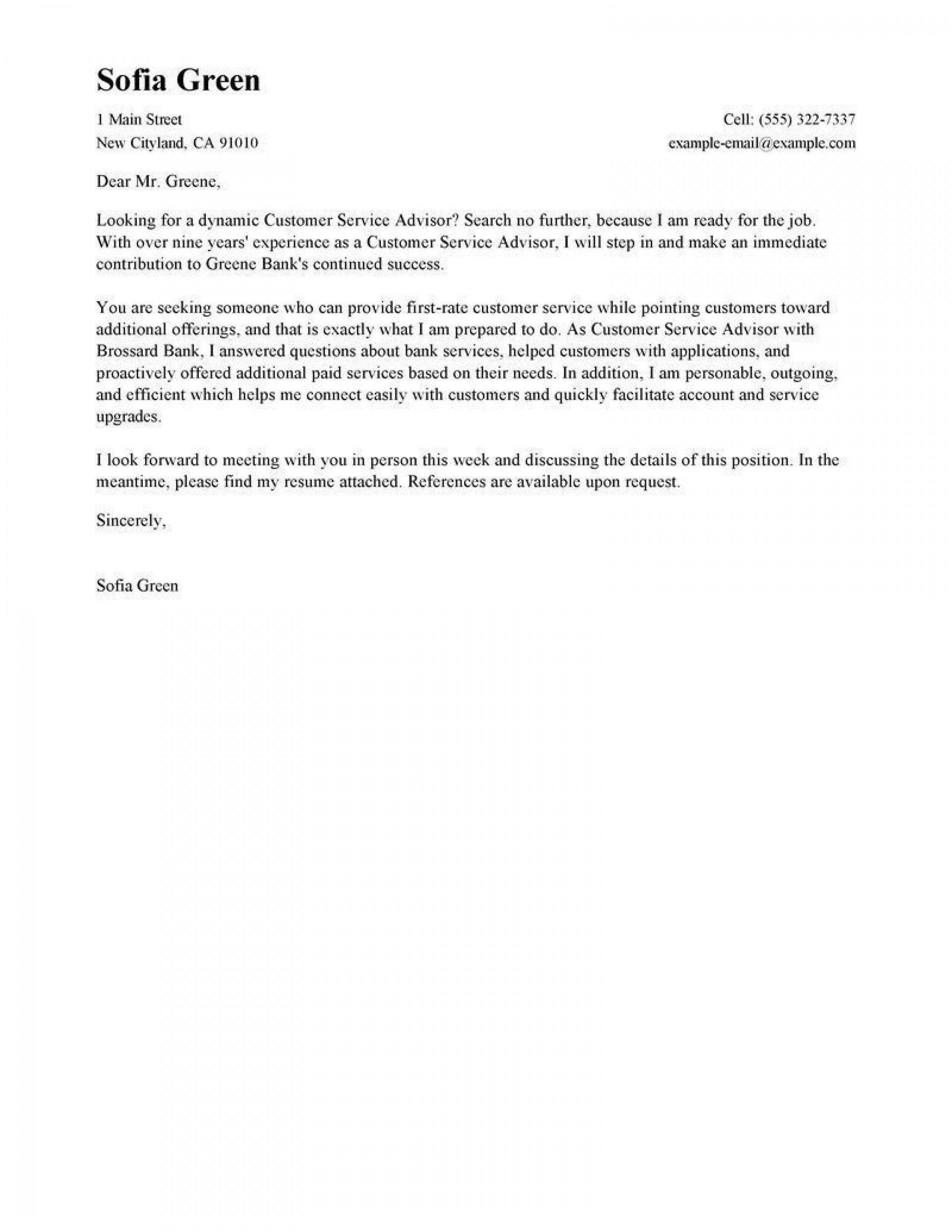 006 Outstanding Email Cover Letter Example For Customer Service Highest Quality  Sample Representative1920