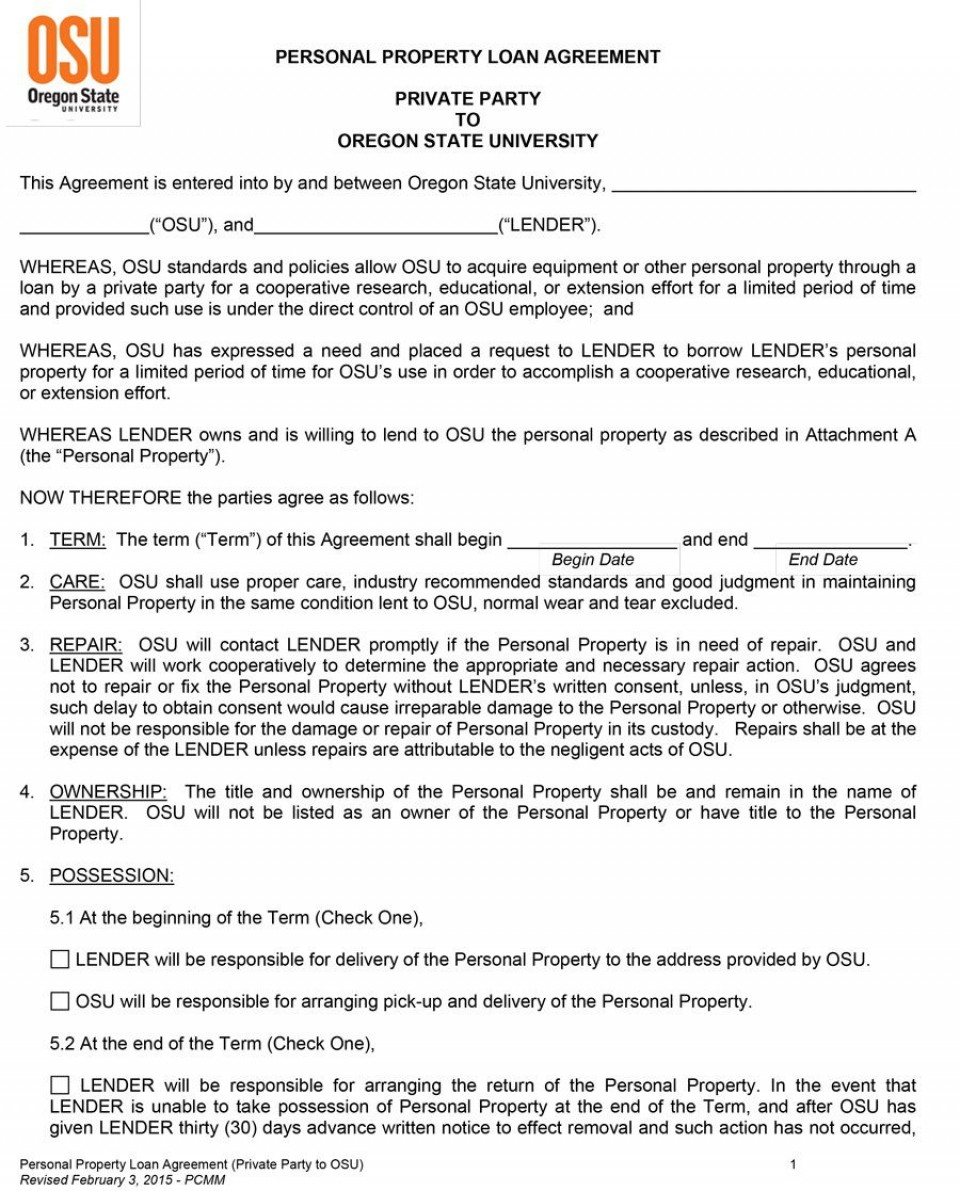 006 Outstanding Free Loan Agreement Template Word Picture  Personal Microsoft South Africa960