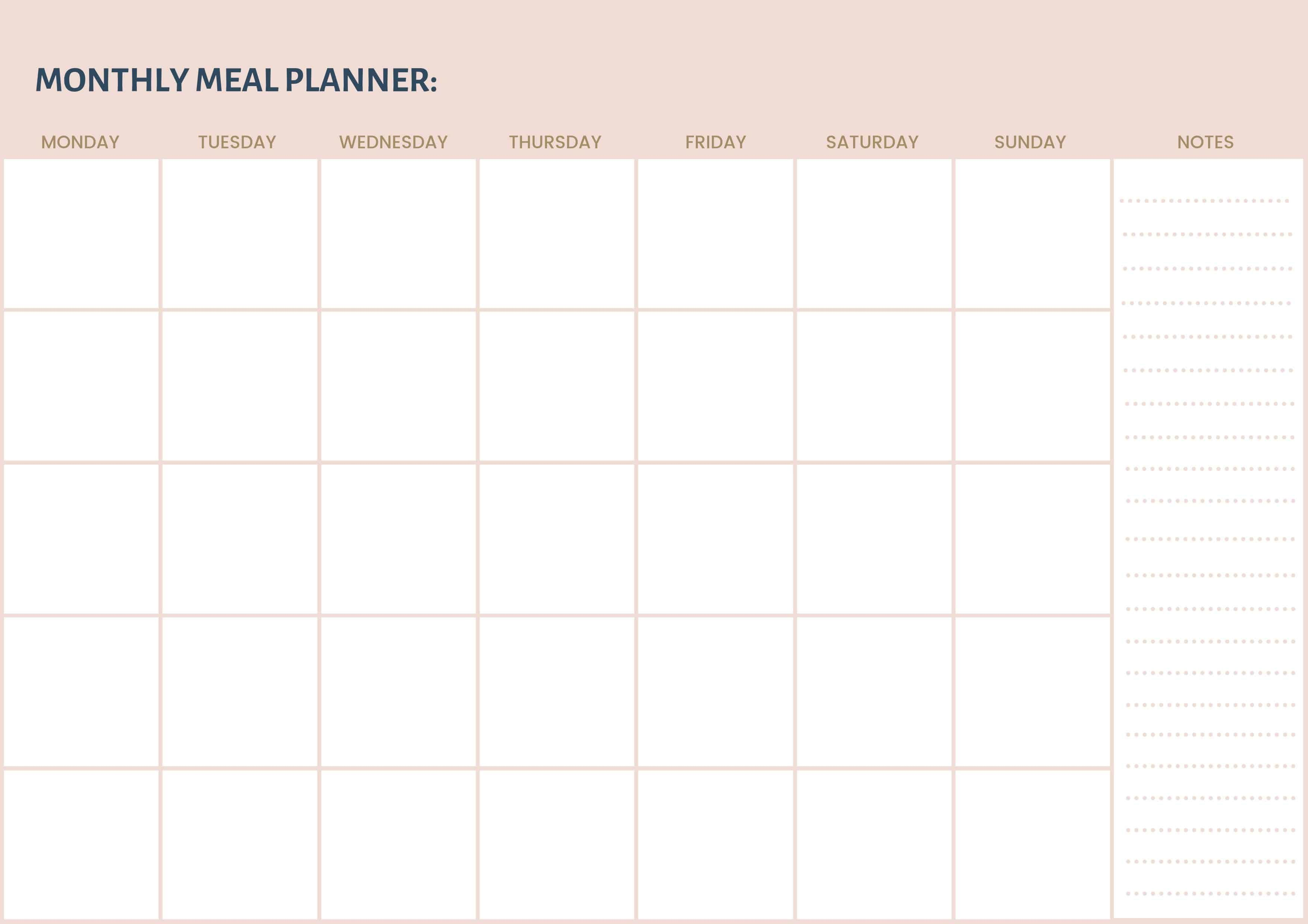 006 Outstanding Free Meal Planner Template Pdf Highest Quality  Weekly With Grocery List MonthlyFull