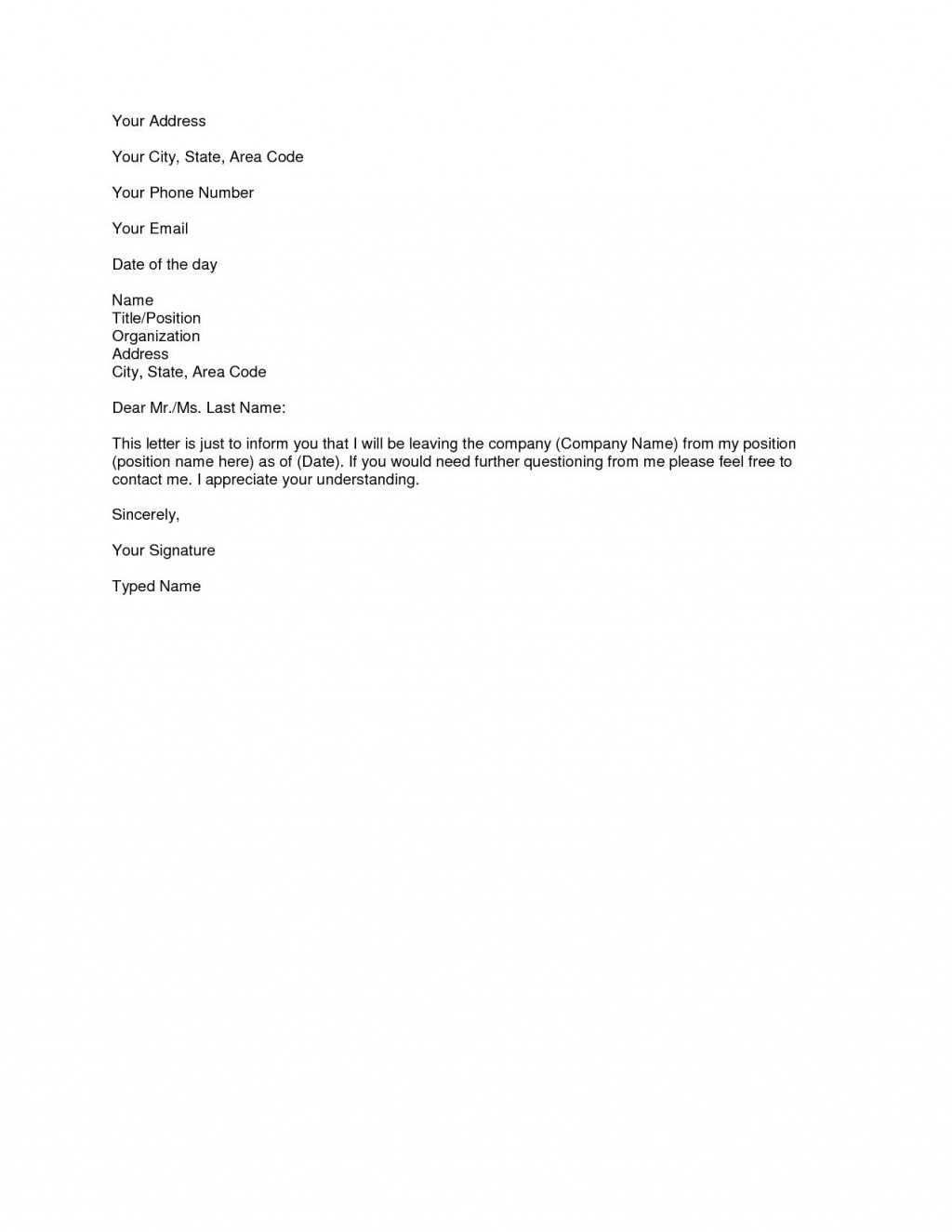 006 Outstanding Letter Of Resignation Template Free High Definition  Pdf SampleLarge