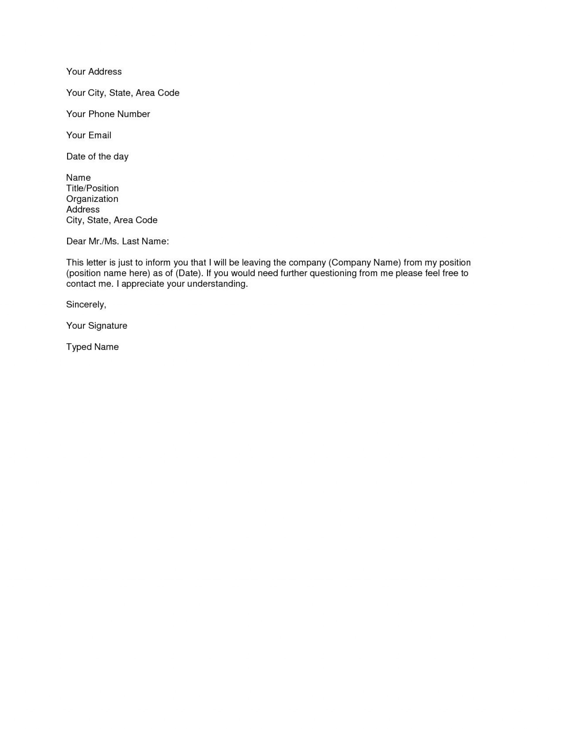 006 Outstanding Letter Of Resignation Template Free High Definition  Pdf Sample1920