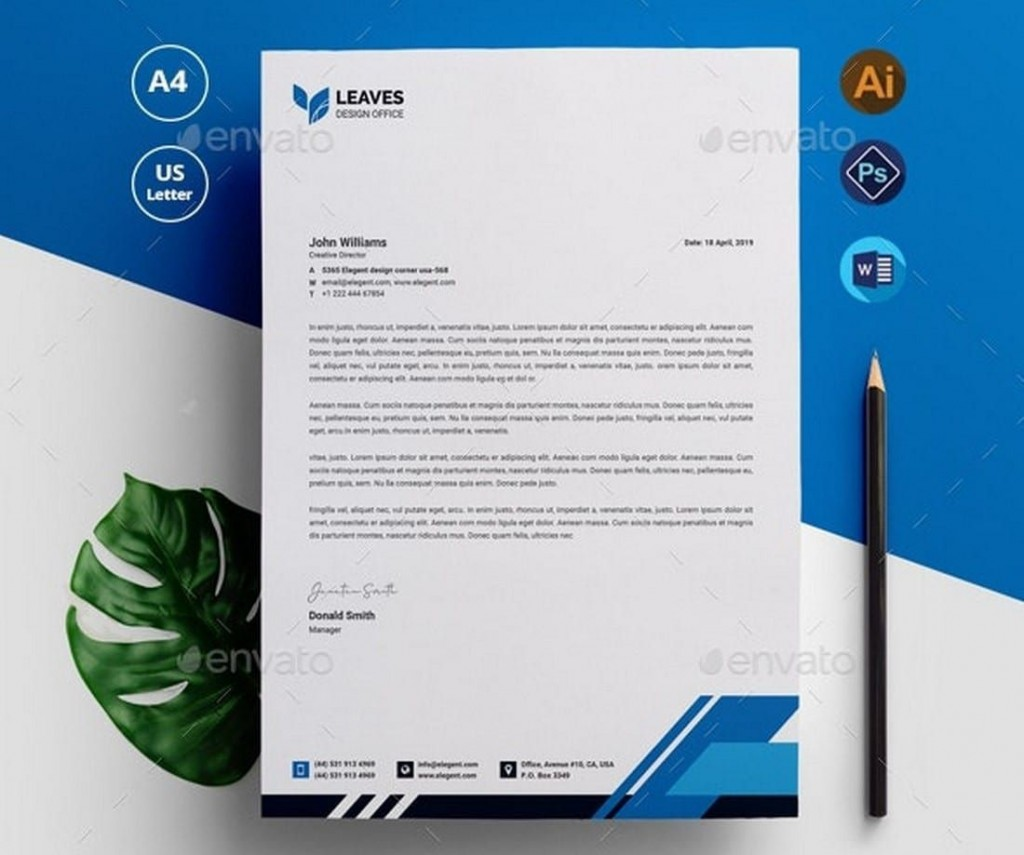 006 Outstanding Letterhead Template Free Download Psd Image  Corporate A4Large