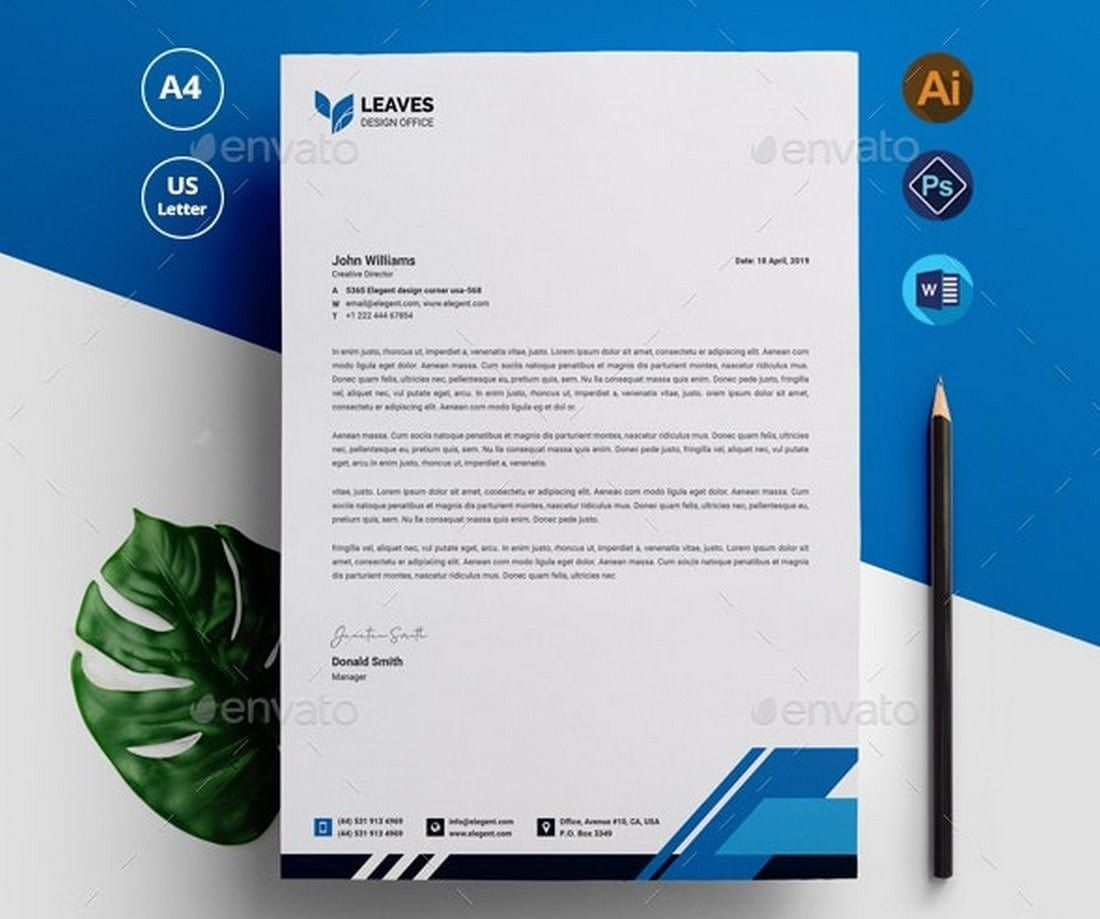 006 Outstanding Letterhead Template Free Download Psd Image  A4 CompanyFull