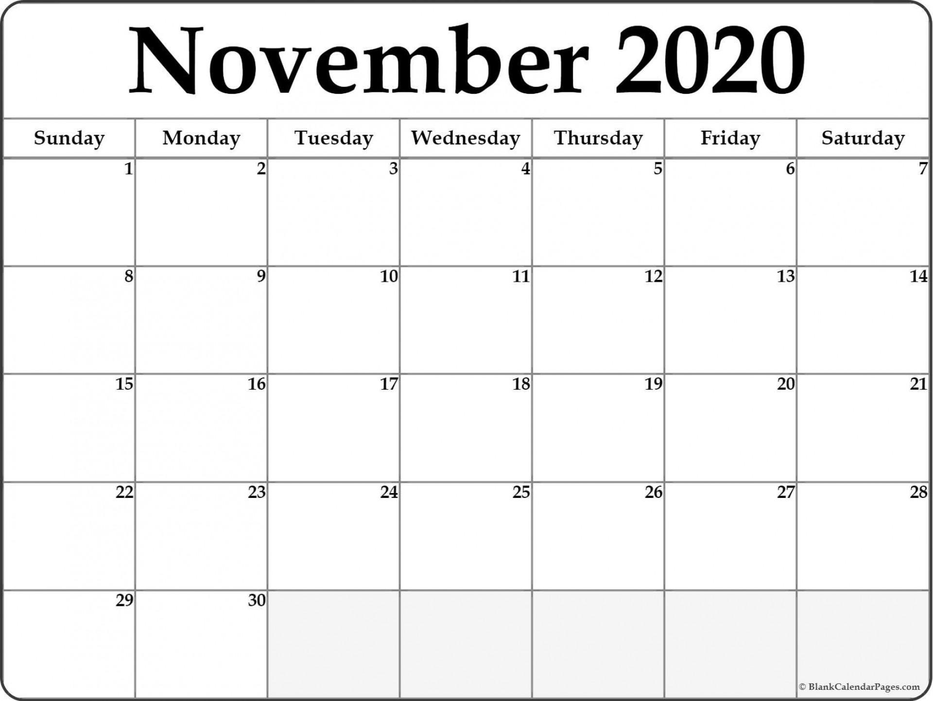 006 Outstanding Printable Calendar Template November 2020 Image  Free1920