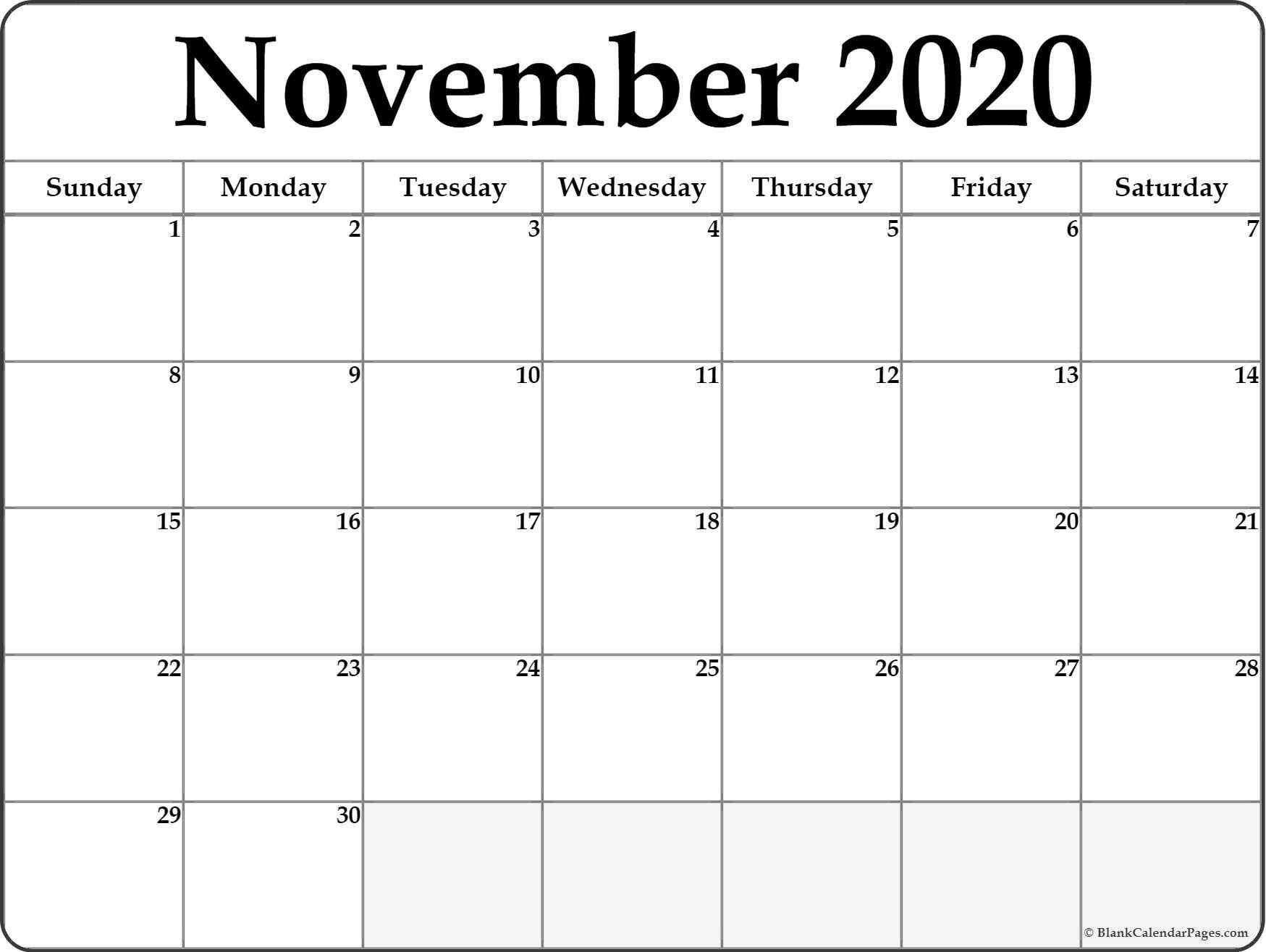 006 Outstanding Printable Calendar Template November 2020 Image  FreeFull