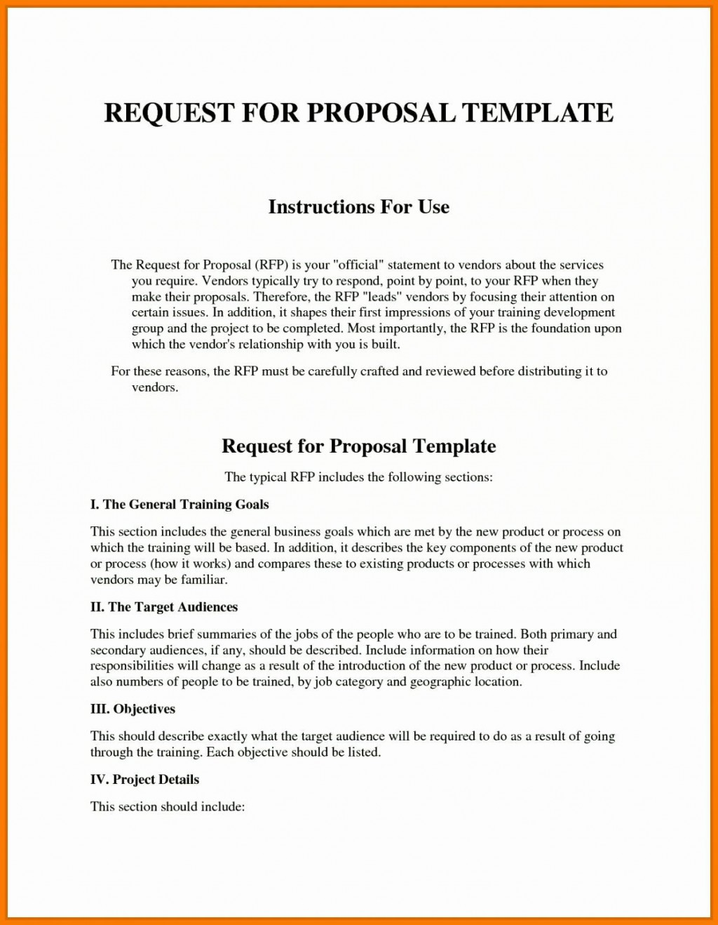 006 Outstanding Request For Proposal Template Excel Design Large
