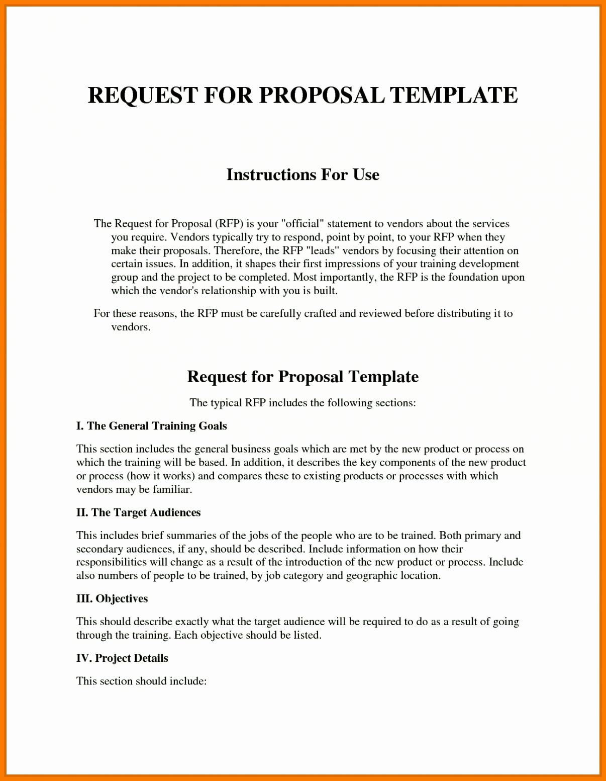 006 Outstanding Request For Proposal Template Excel Design Full