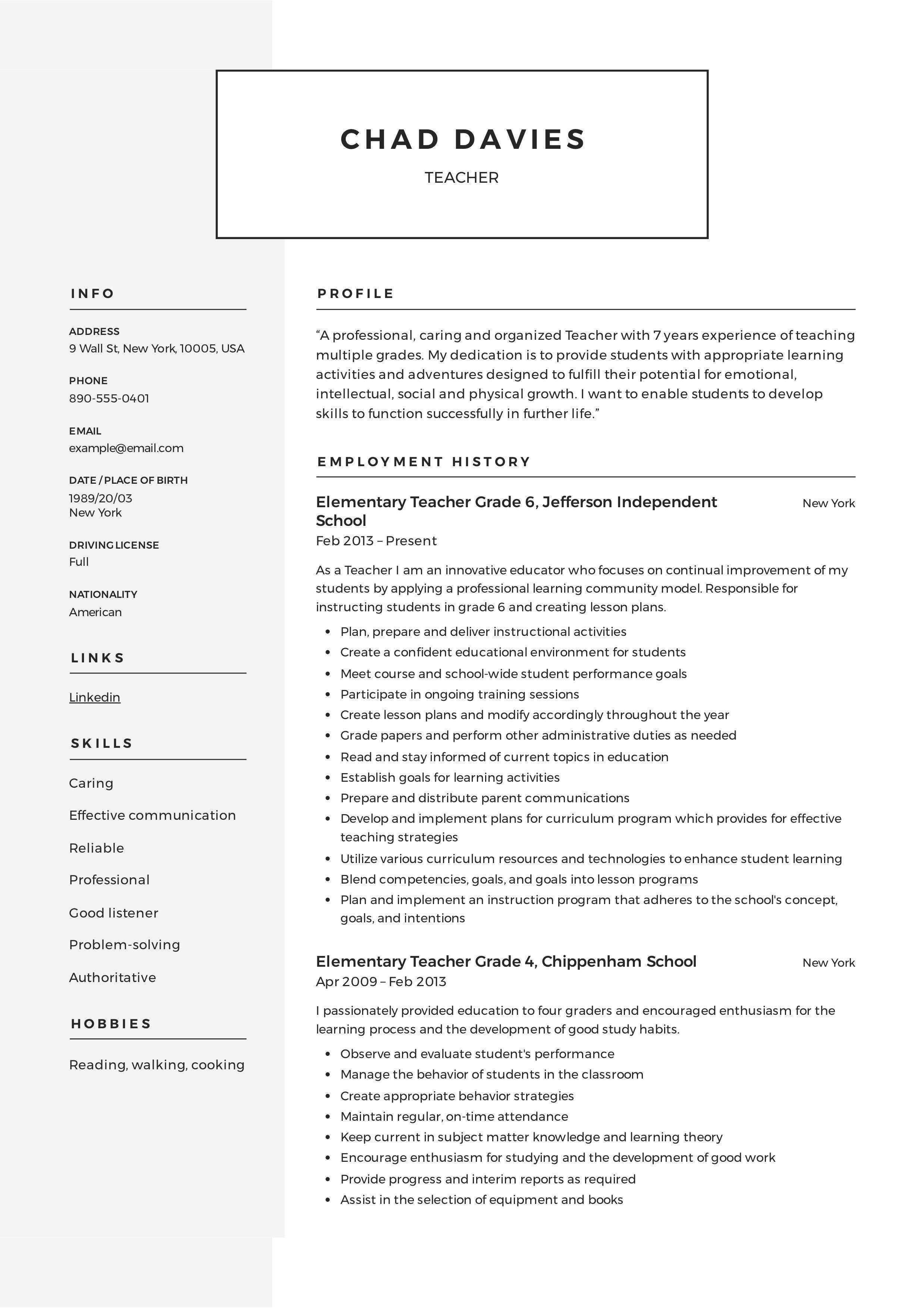 006 Outstanding Resume Sample For Teaching Position Highest Clarity  Teacher Aide In CollegeFull