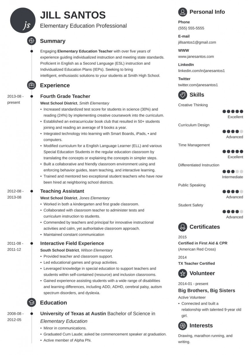 006 Outstanding Resume Template For Teaching Idea  Example Assistant Cv Uk Job868