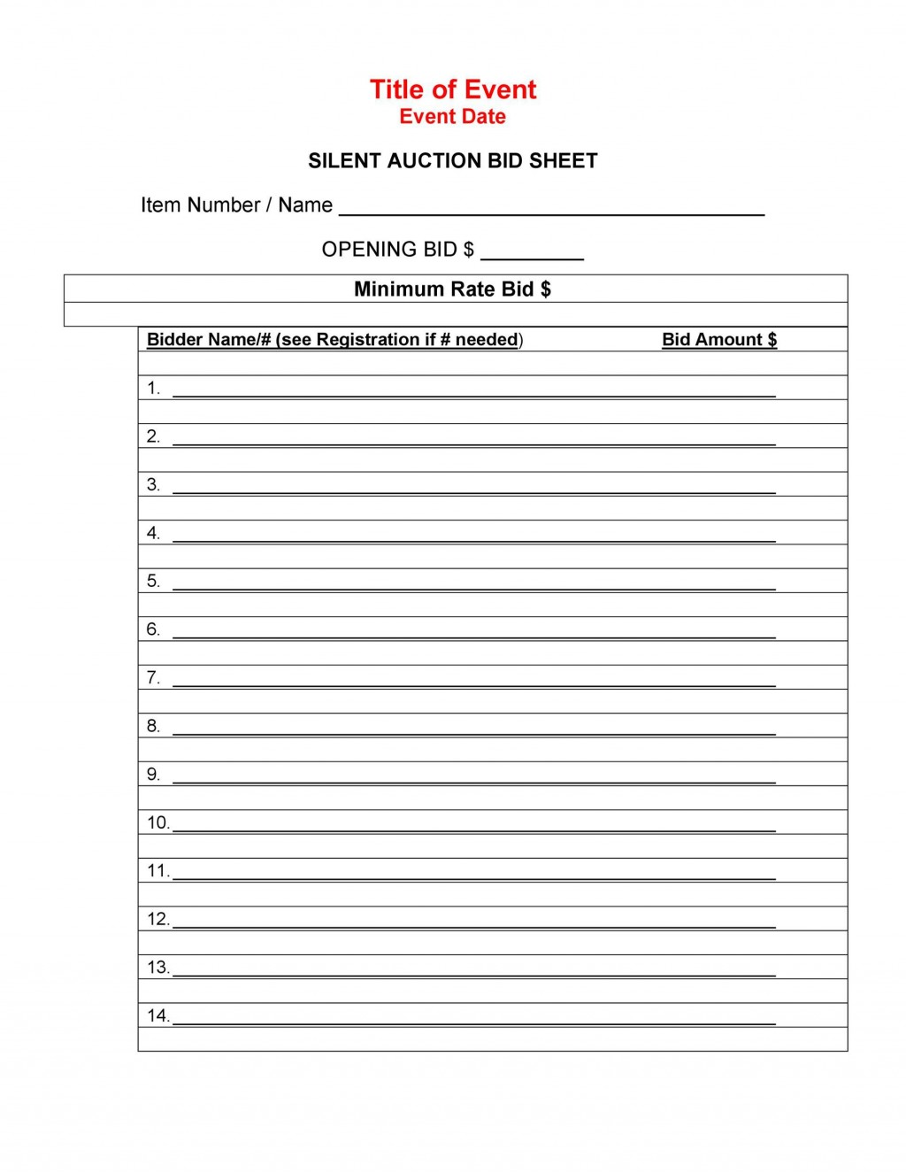 006 Outstanding Silent Auction Bid Sheet Template High Definition  Free Download Sample Microsoft WordLarge