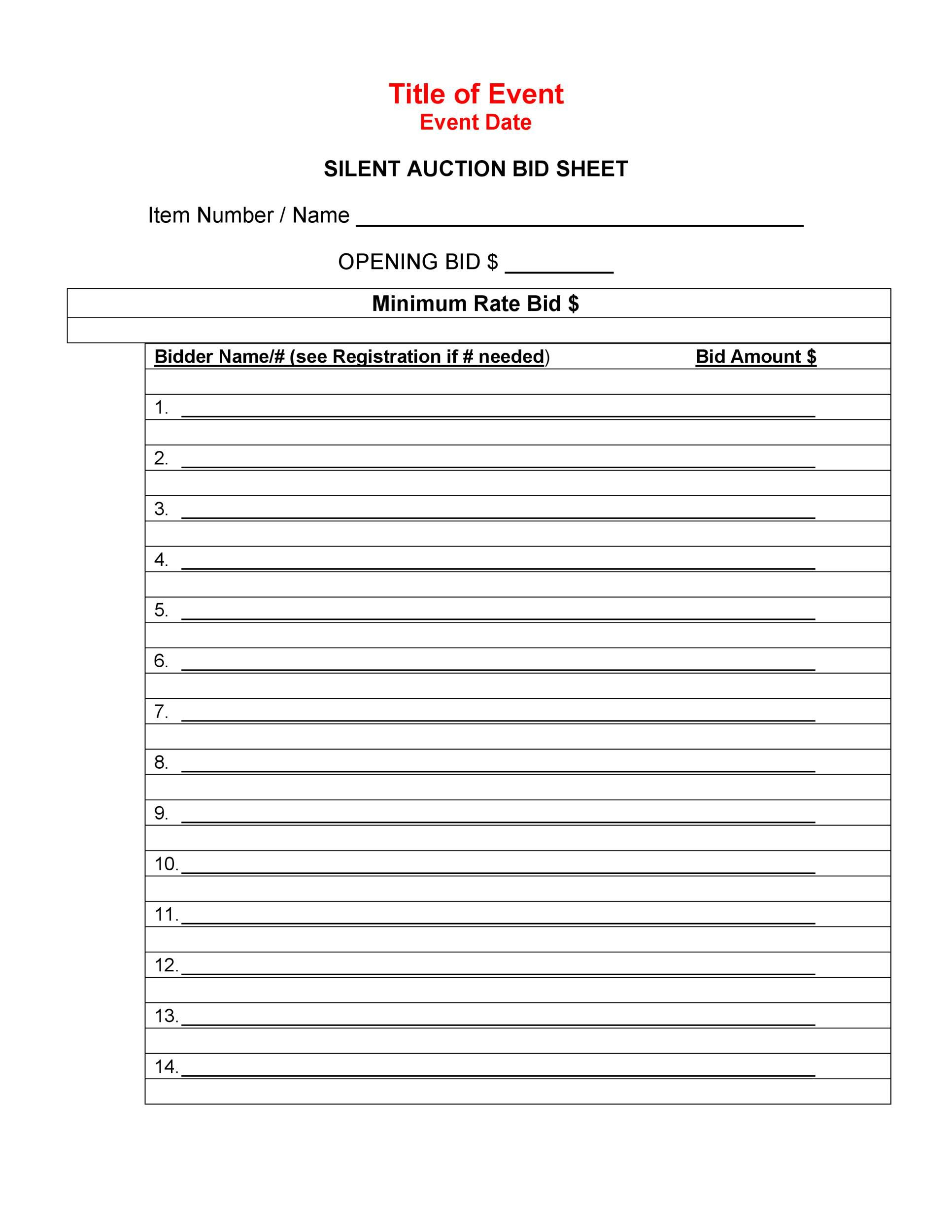 006 Outstanding Silent Auction Bid Sheet Template High Definition  Free Download Sample Microsoft WordFull