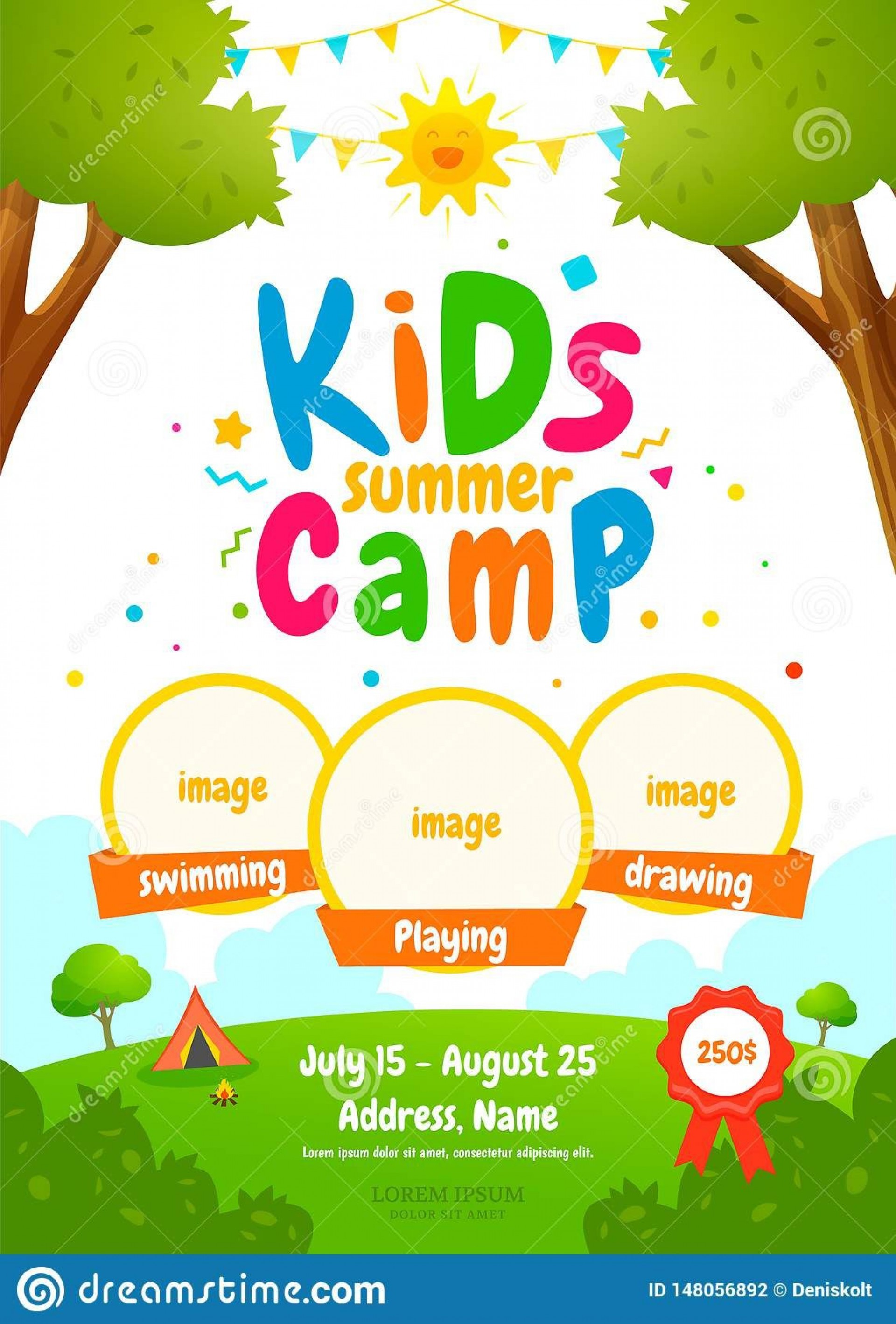 006 Outstanding Summer Camp Flyer Template Concept  Day Microsoft Word Background1920