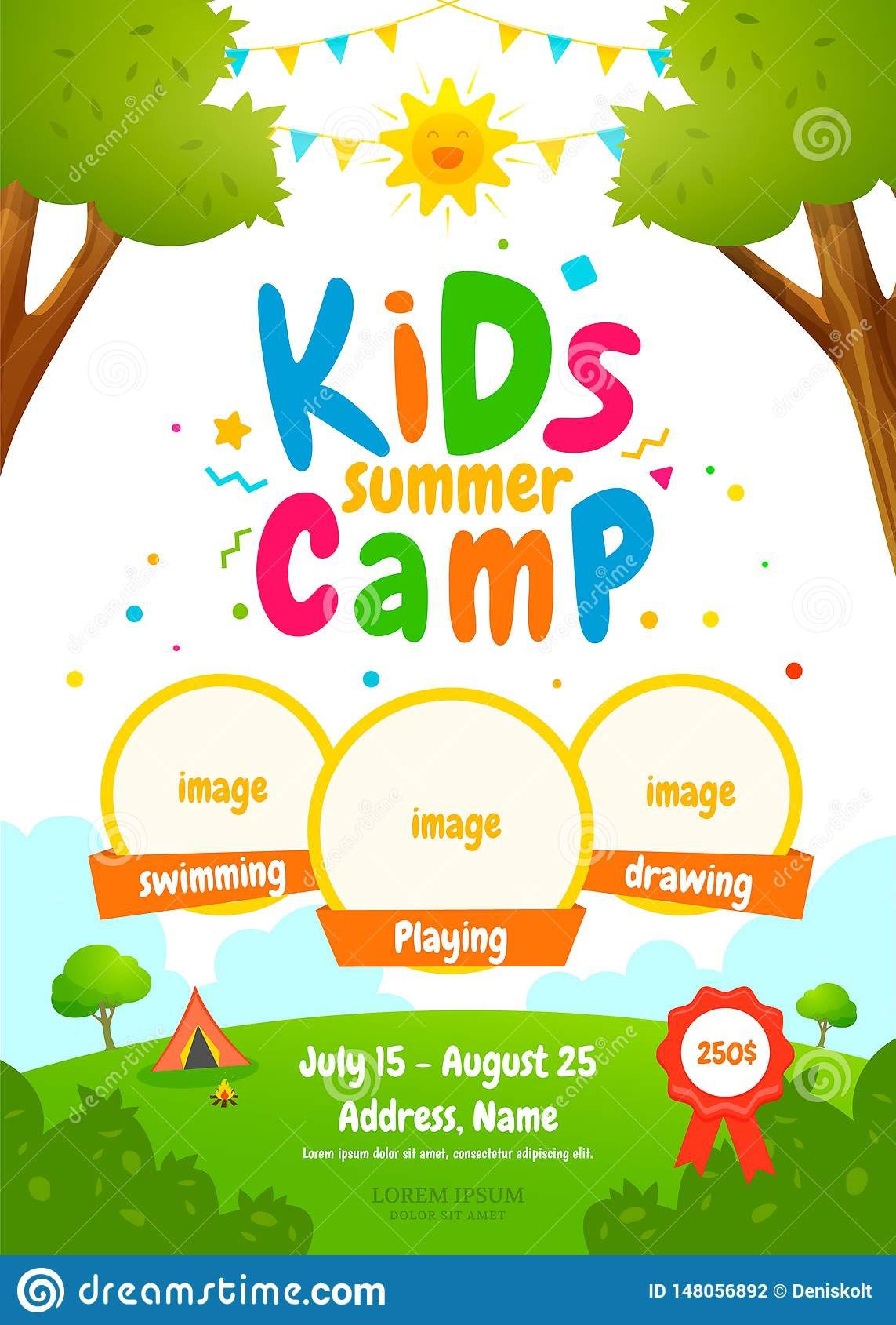 006 Outstanding Summer Camp Flyer Template Concept  Day Microsoft Word BackgroundFull