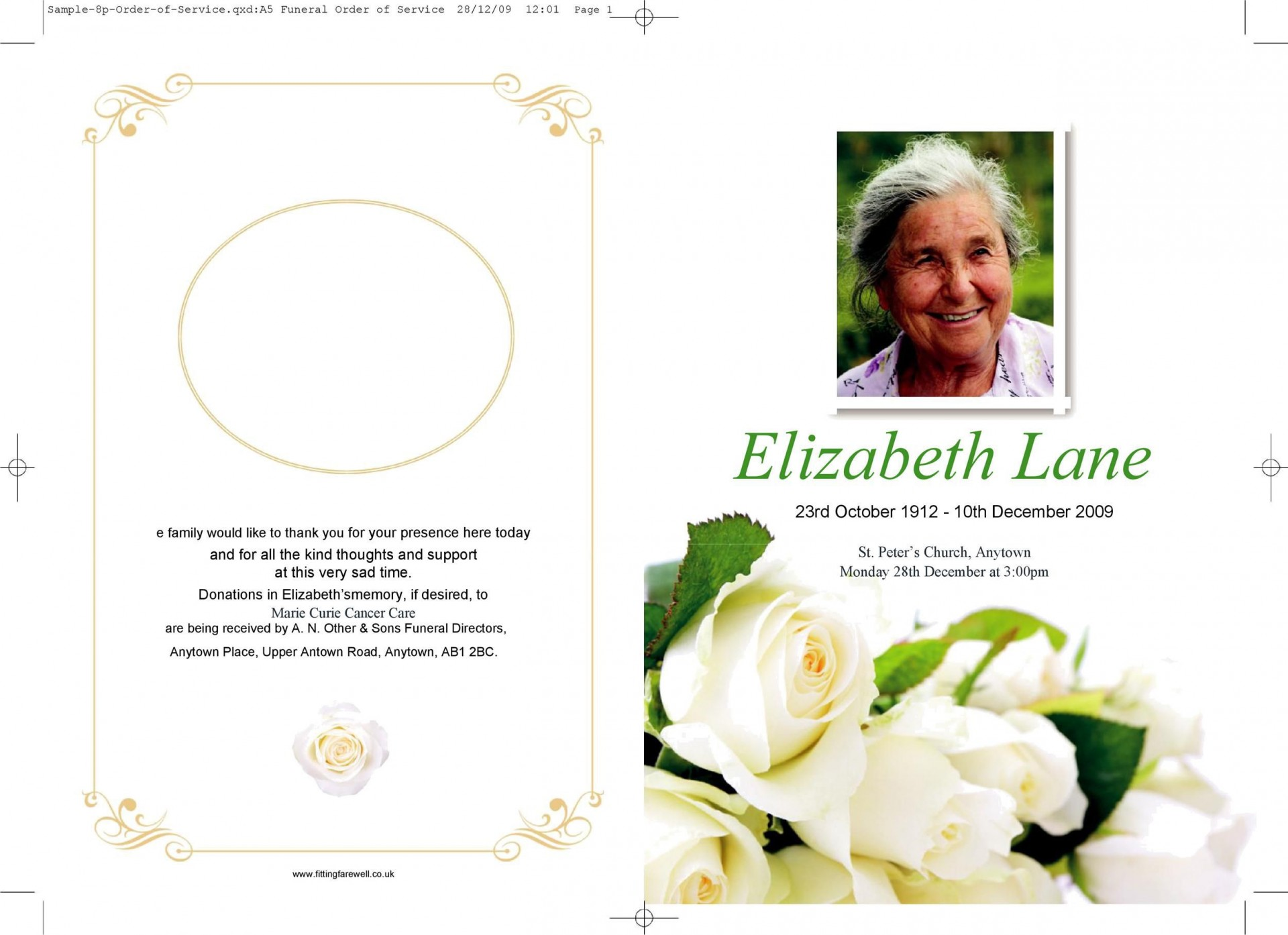 006 Outstanding Template For Funeral Program On Word Highest Clarity  2010 Free Sample Wording1920