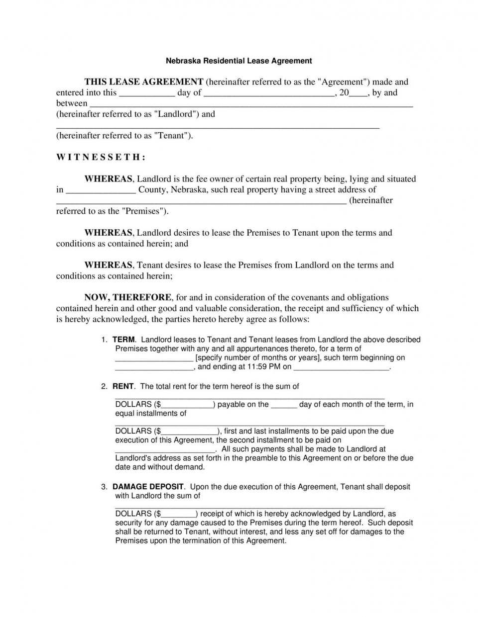 006 Outstanding Template For Lease Agreement Rental Property Concept 960