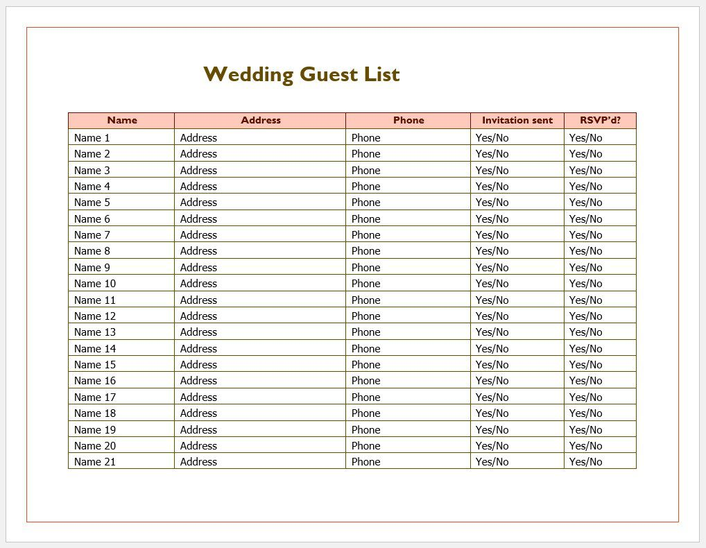 006 Outstanding Wedding Guest List Template Excel Download Highest Quality Full