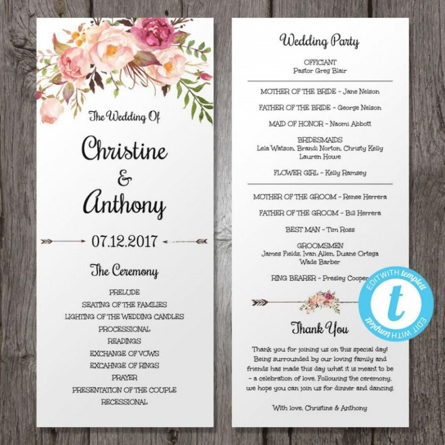006 Outstanding Wedding Program Template Free Download Picture  Editable Word