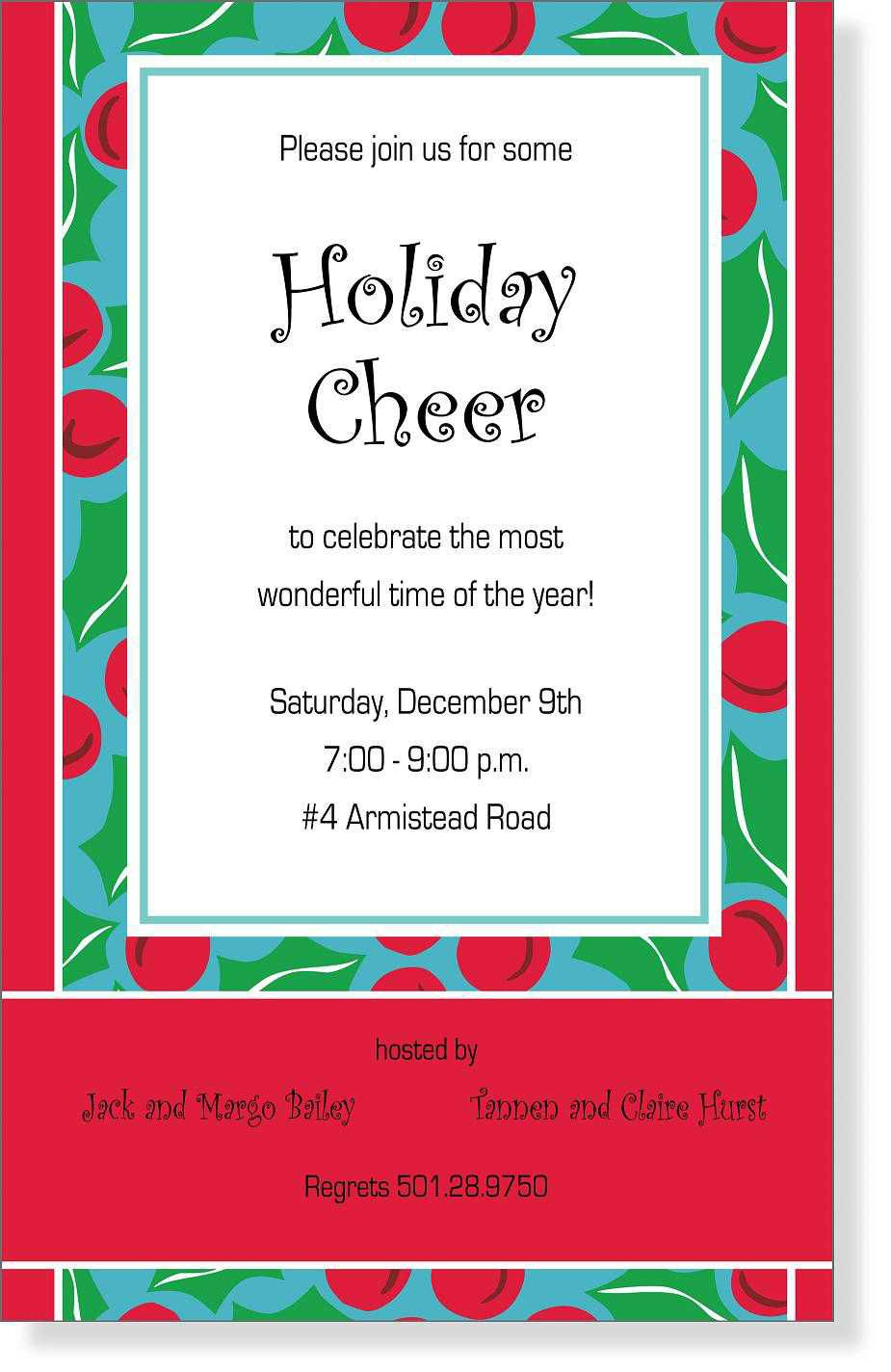 006 Phenomenal Holiday Open House Invitation Template High Resolution  Christma Free Printable Wording IdeaFull