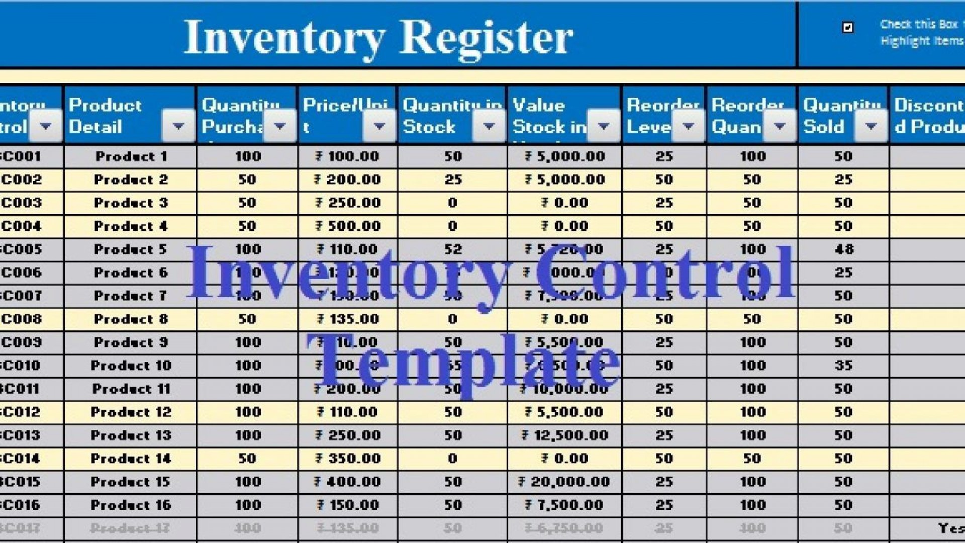006 Phenomenal Inventory Control Excel Template Free Download Example 1920