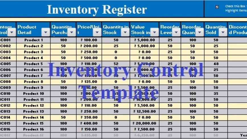 006 Phenomenal Inventory Control Excel Template Free Download Example