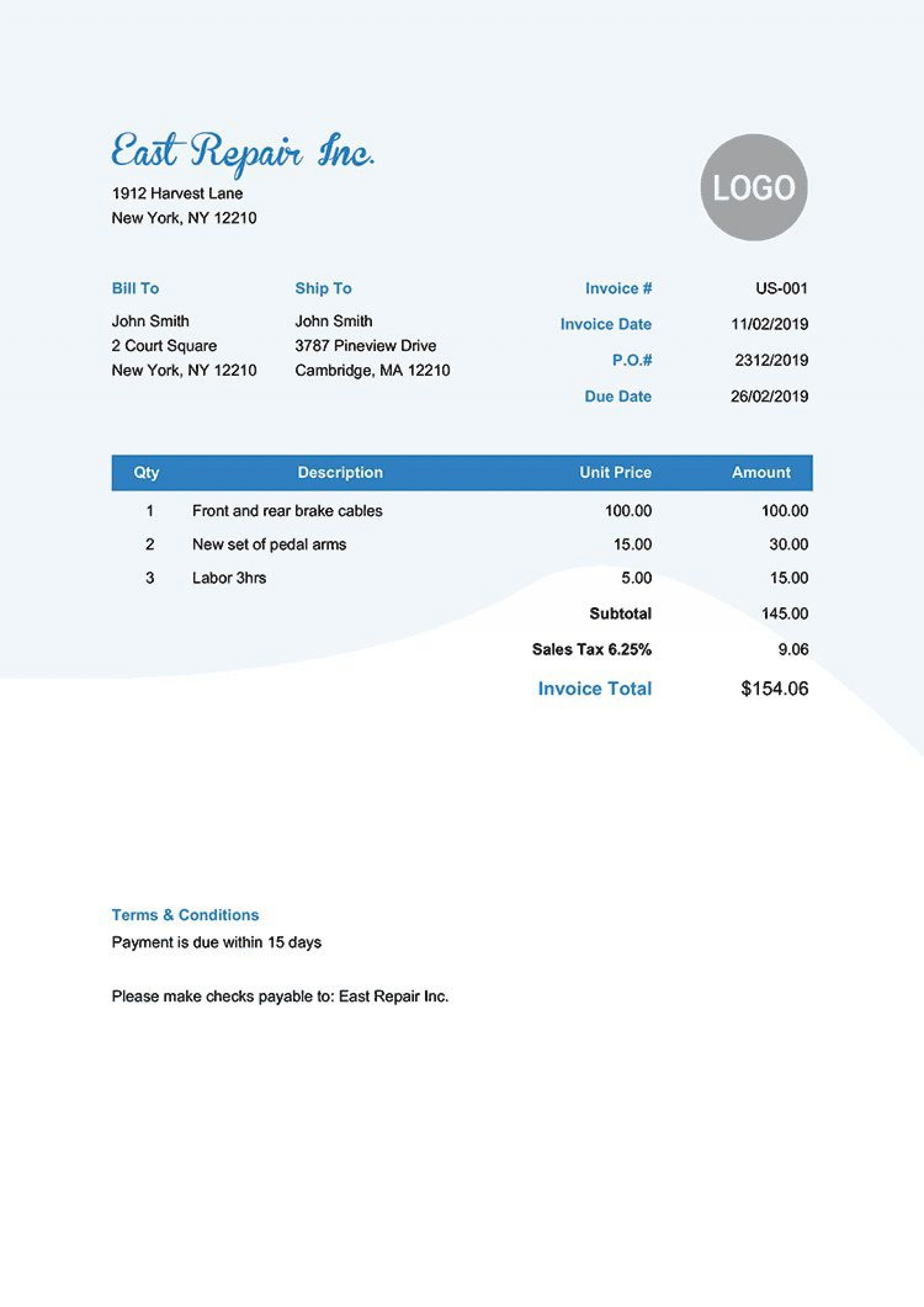 006 Phenomenal Invoice Template Pdf Fillable Sample  Commercial1920