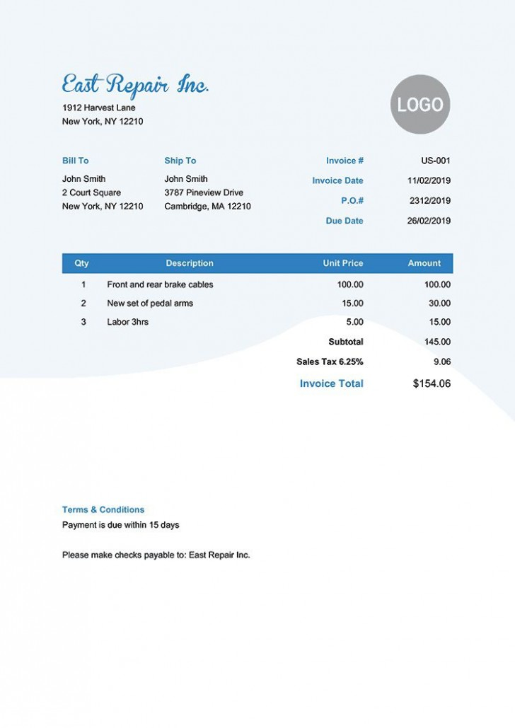 006 Phenomenal Invoice Template Pdf Fillable Sample  Free Receipt728