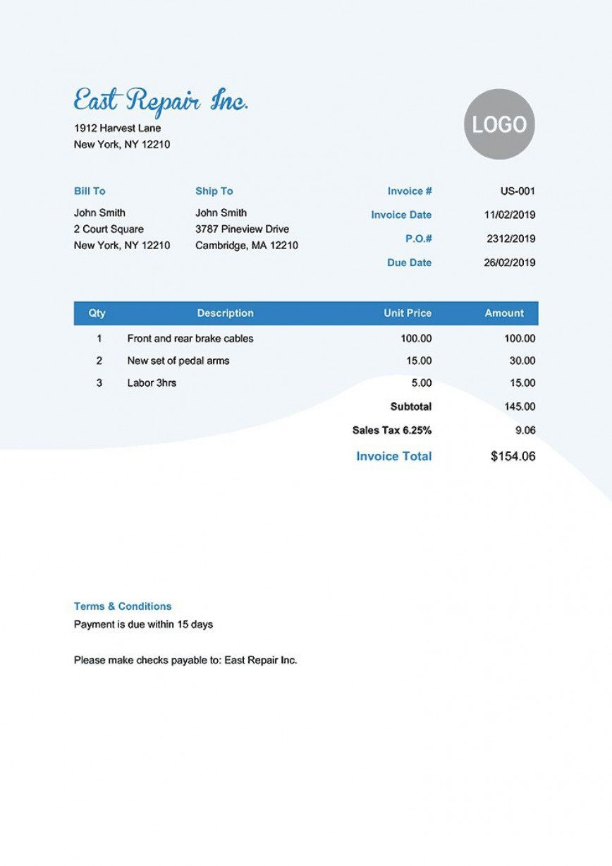 006 Phenomenal Invoice Template Pdf Fillable Sample  Free Editable868