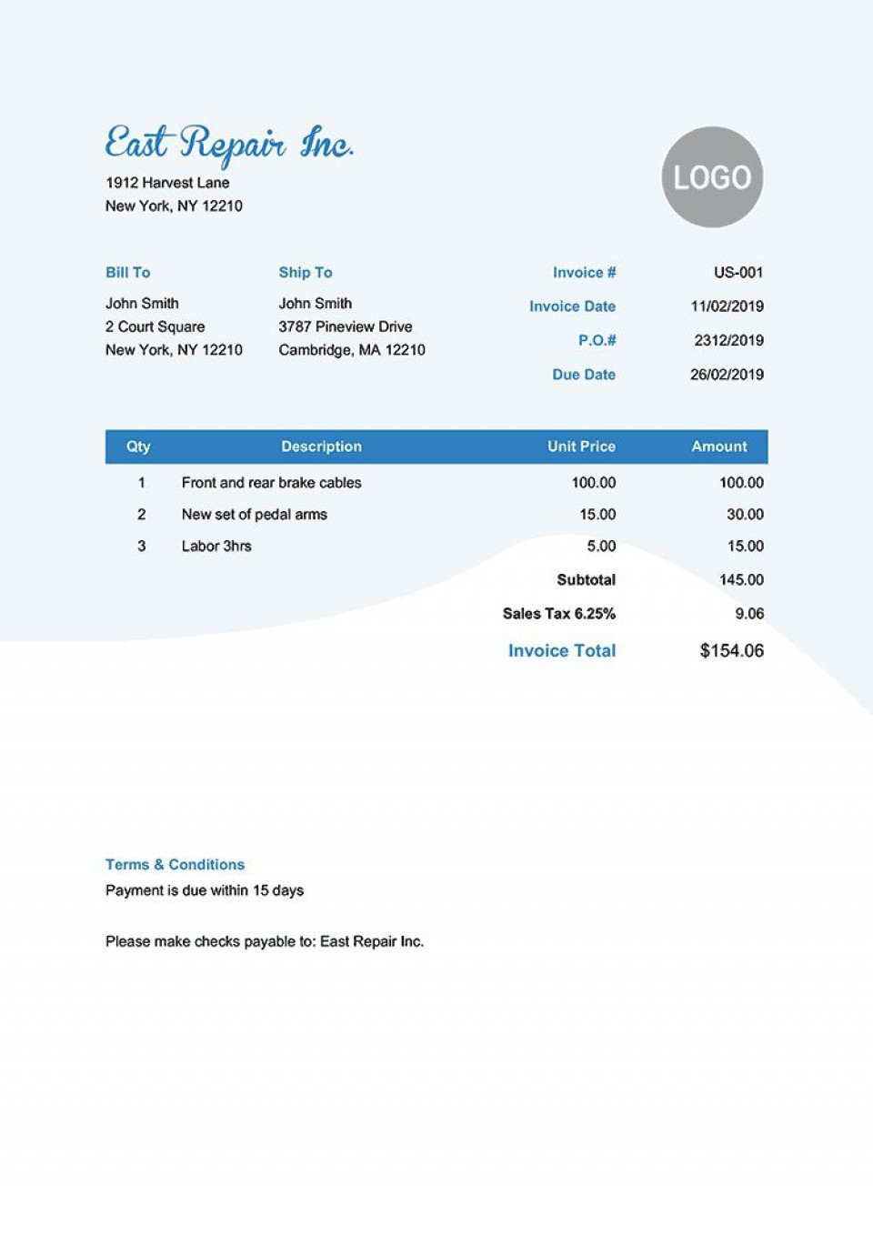 006 Phenomenal Invoice Template Pdf Fillable Sample  Free Editable960