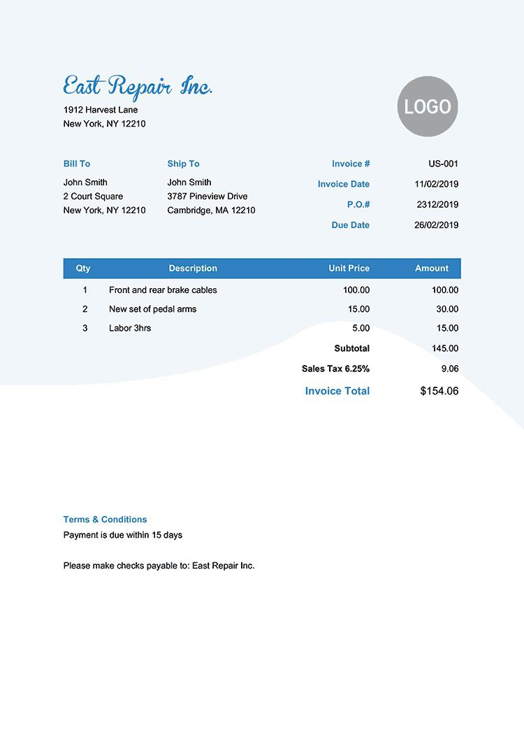 006 Phenomenal Invoice Template Pdf Fillable Sample  Free EditableFull