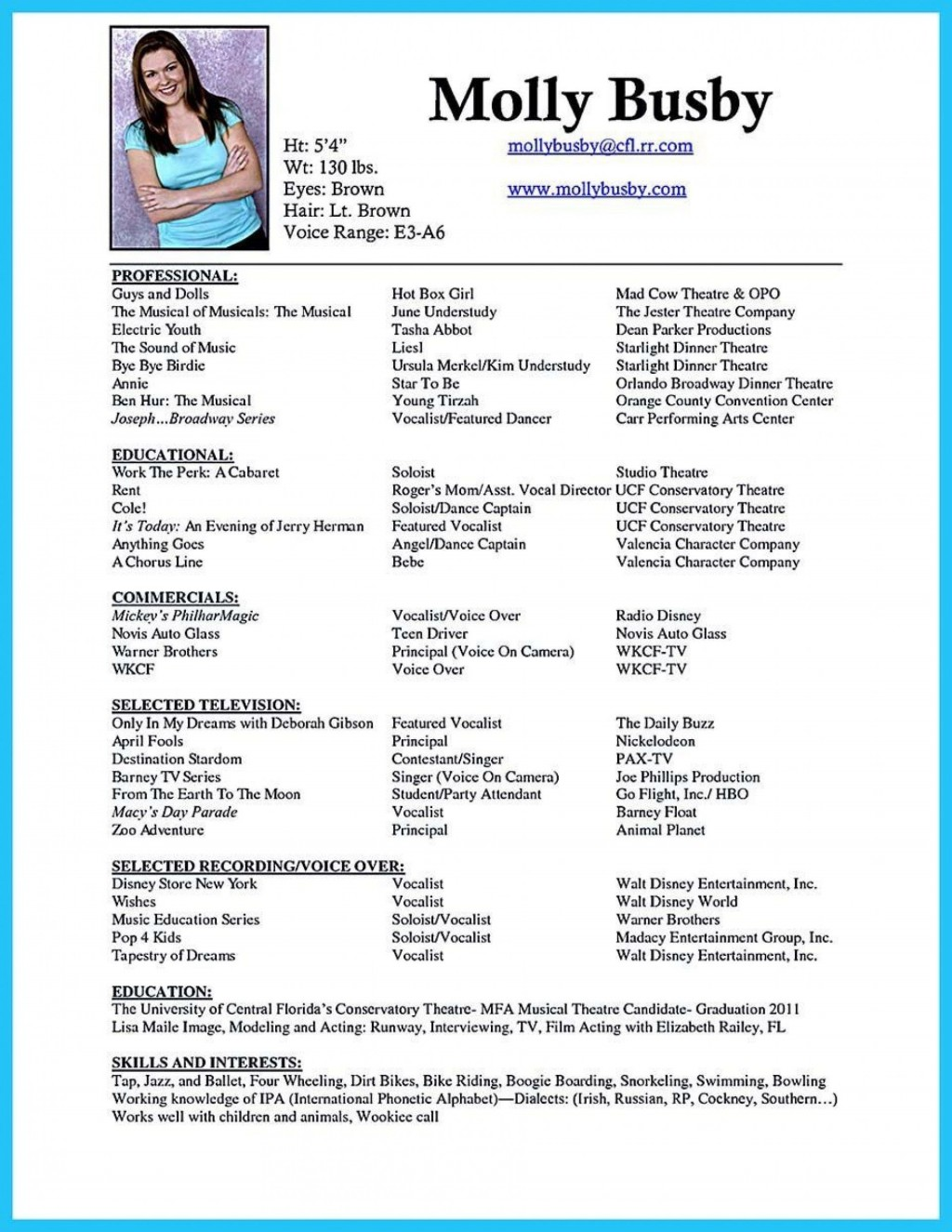 006 Phenomenal Musical Theater Resume Template Word Highest Quality  TheatreLarge