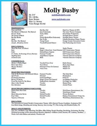 006 Phenomenal Musical Theater Resume Template Word Highest Quality  Theatre320