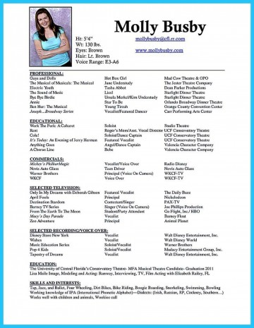 006 Phenomenal Musical Theater Resume Template Word Highest Quality  Theatre360
