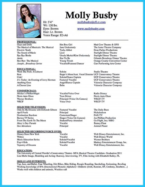 006 Phenomenal Musical Theater Resume Template Word Highest Quality  Theatre480