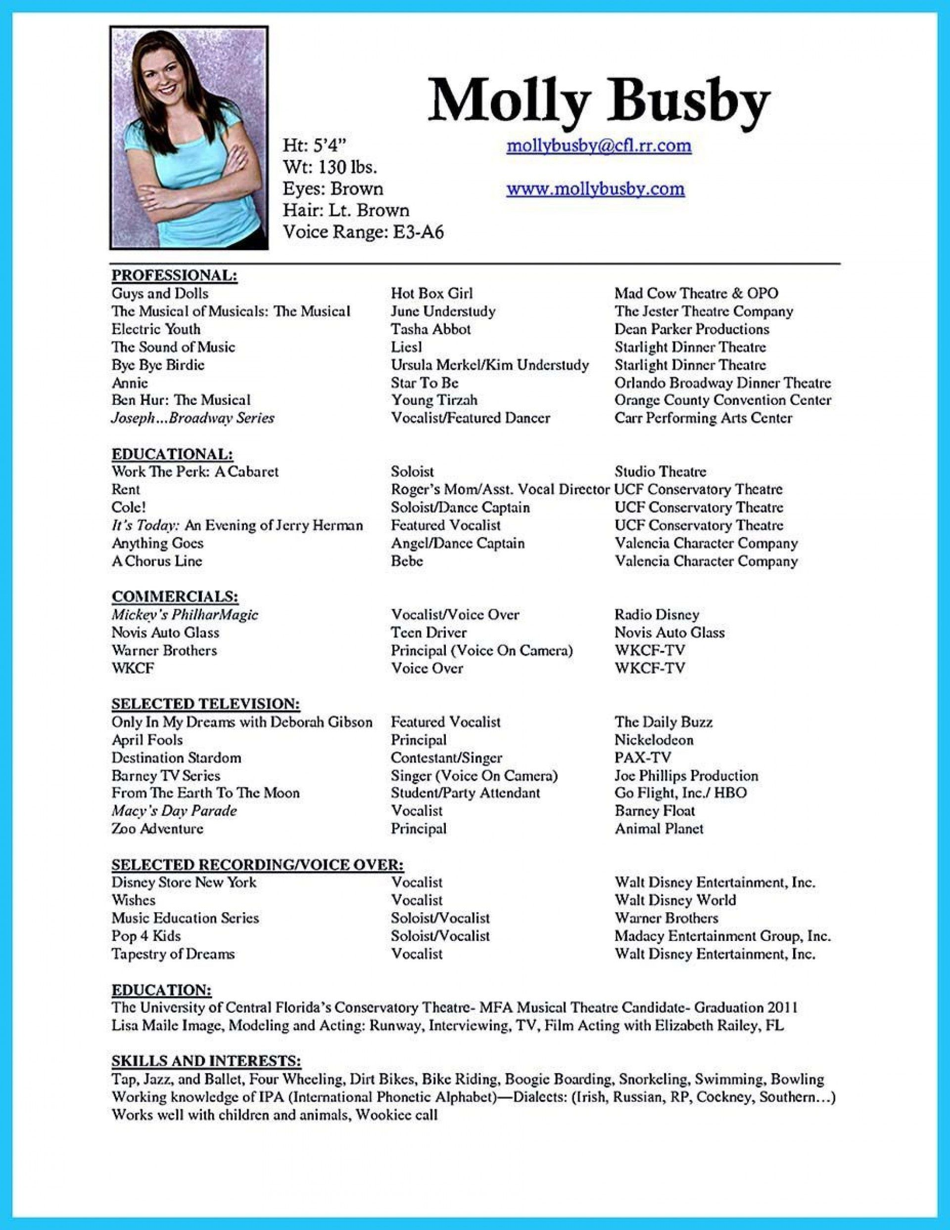 006 Phenomenal Musical Theater Resume Template Word Highest Quality  TheatreFull
