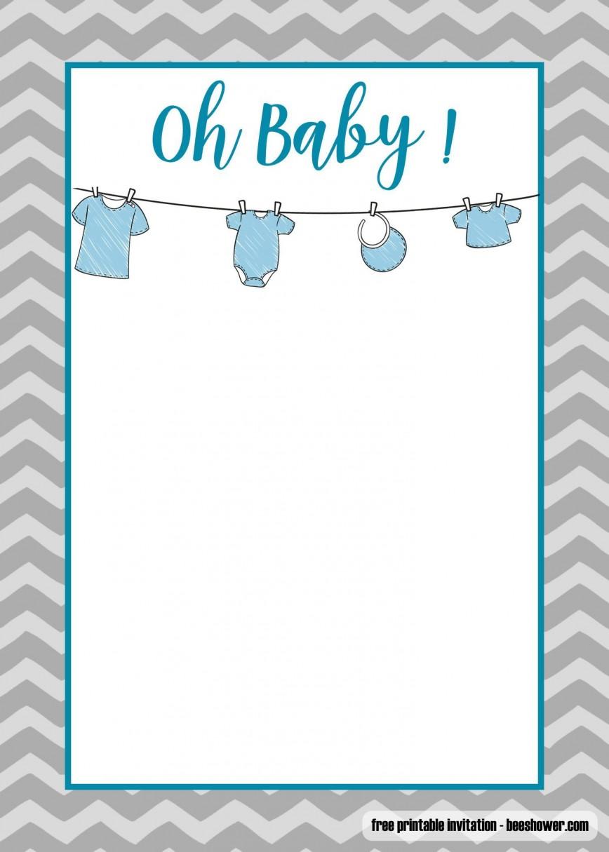 006 Phenomenal Onesie Baby Shower Invitation Template Image  Free