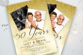 006 Rare 50th Anniversary Party Invitation Template Sample  Wedding Free Download Microsoft Word