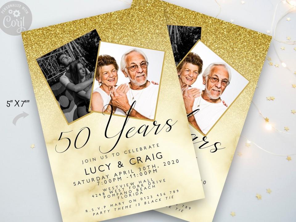 006 Rare 50th Anniversary Party Invitation Template Sample  Wedding Free Download Microsoft Word960