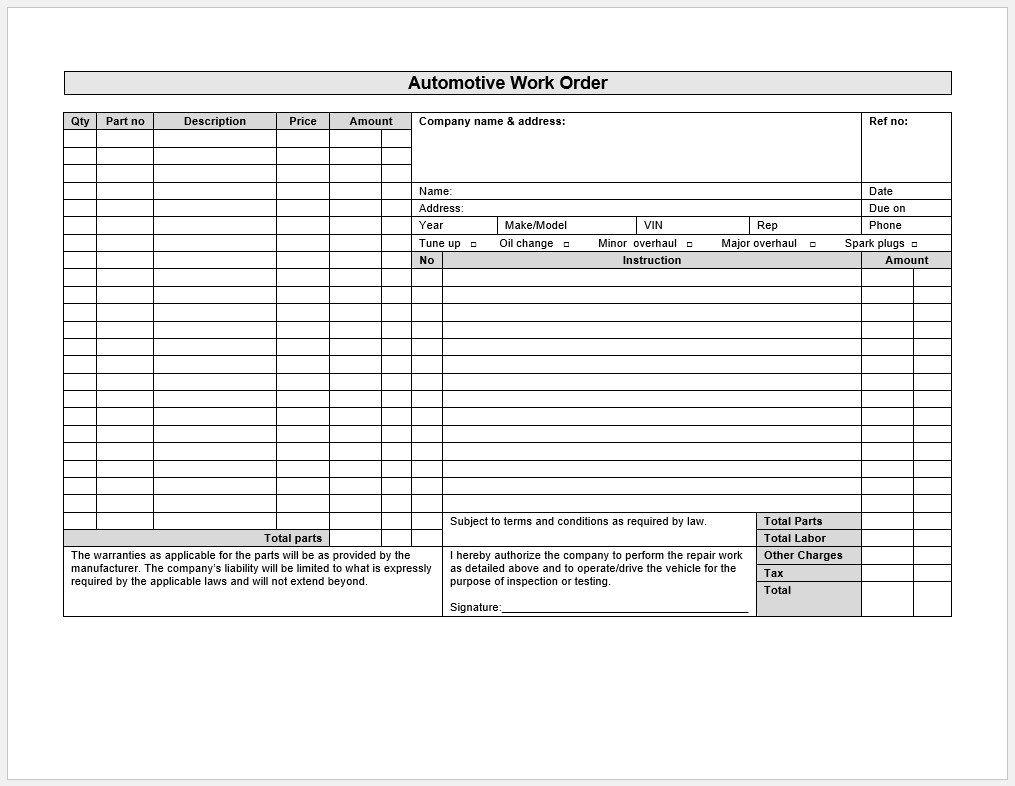 006 Rare Auto Repair Work Order Template Excel Free Image Full